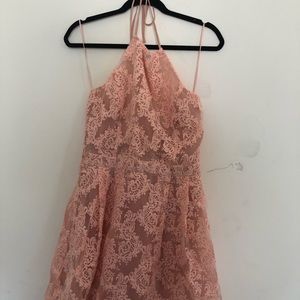 Pink lace halter dress